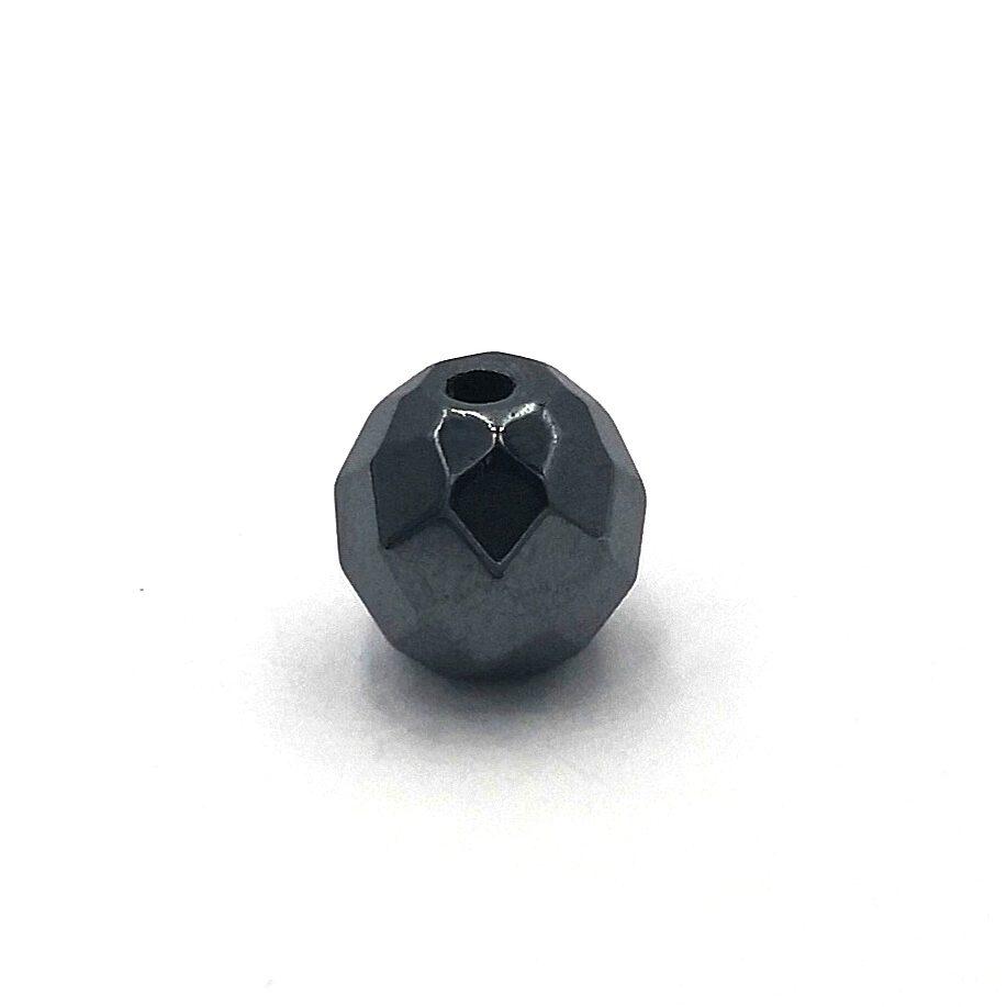 Demanic Bead Faceted Gun Black Hematite