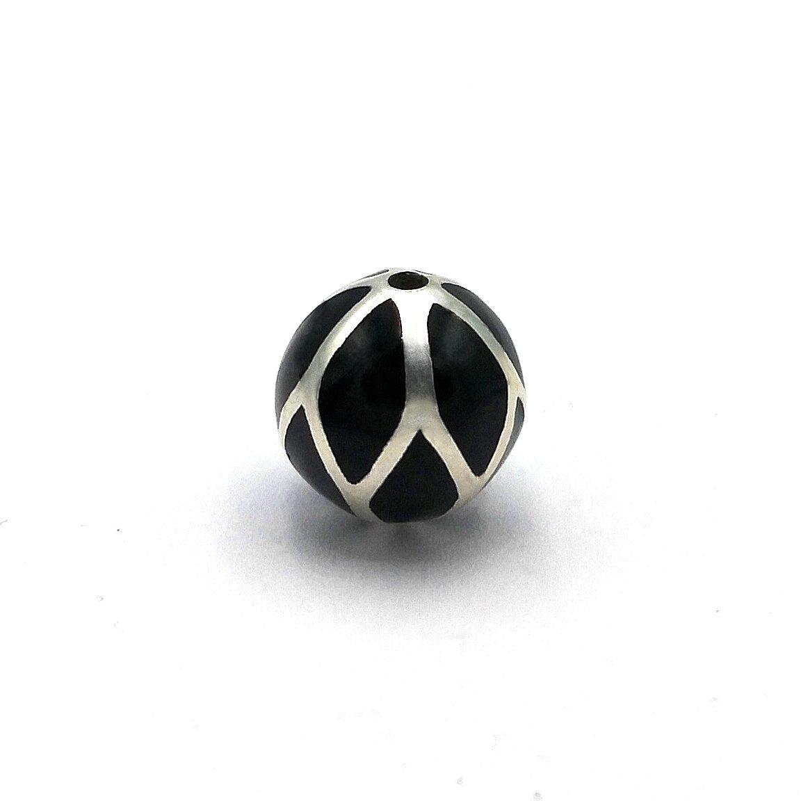 12 mm Black Enamel Plated 925 Sterling Silver Bali Bead